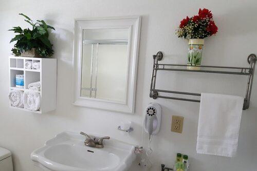 Sparkling clean motel bath